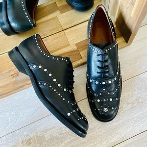Coach Black Leather Tegan Oxford Shoes With Studs